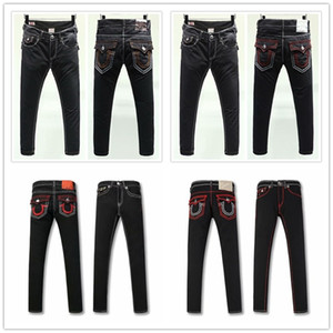 Herren Skinny Jeans Blass blaue gerade Jeans Hommes TRUE RELIGION Denim-Hosen-Taschen-Deisgn Fashion Brand Jeans Mens Fit Hip Hop Jeans