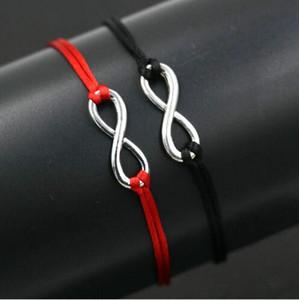50 teile / los Glücklich Rote Schnur Unendlichkeit bezaubert Armbänder Seil Glückliches Rotes Armband Für Frauen Rote Schnur Justierbares Handgemachtes Armband DIY