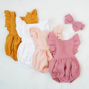 Atacado Baby Girl Bodysuit 2019 Verão Novo Primeiro Aniversário de Algodão Cor Sólida Macacão Macacão Headband Roupas Para Bebês E054