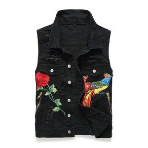 Çiçek Phoenix Nakış Denim Vest Sıkıntılı Kolsuz Kot ceketler Biker yelek erkekler Giyim 2018 Damla Nakliye Ripped