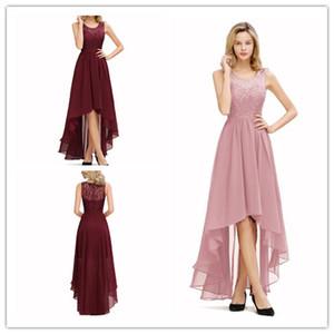 2019 V-cuello Partido Pron vestidos sin mangas de un aplique de encaje Línea de Alta Baja Hundiendo Homecoming vestidos de fiesta Mini vestido corto
