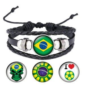 couro dos homens novo Brasil Bandeira Nacional Cabochon snap Charm Bracelet Ajustar tamanho pulseira de couro para fãs de futebol B047