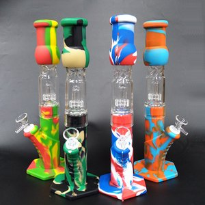 Silicone Bongs Percolators Perc removível pente Pipes água direto mel bong fumadores Bong Com Glass Bowl Mini Bongos Com Quartz Banger