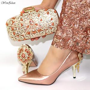 WENZHAN итальянских согласующая обуви и сумка набор цвета шампанского новоприбывших африканских свадеб нижней обувь и мешок набор 8 см 38-42 C910-31