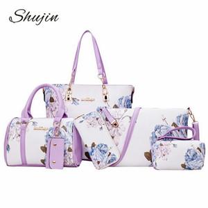 Shujin Новые моды для женщин Сумки для печати Кожа PU Композитный Комплект сцепления сумка Большой Messenger плеча сумку кошелек Женский Sac Femme