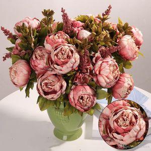 Luyue Vintage Peony Silk Flowers Artificial Peony Simulação Outono Peony Partido Flowers Wedding Bouquet Home Office Decoração 0198
