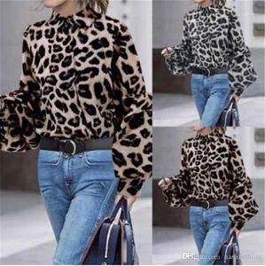 Grain Spots Stand Collar Cotton Fashion Shirt Summer Lady Clothes Designer Women Shirt Long Sleeve Leopard