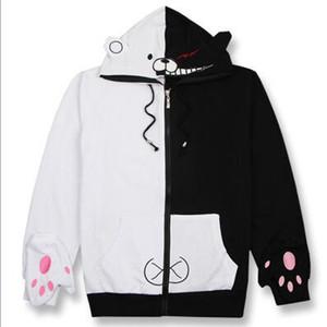 2019 Danganronpa Monokuma Cosplay Costume Unisex Hoodie Sweatshirt Hooded Black White Bear Long Sleeve daily casual coat Jacket
