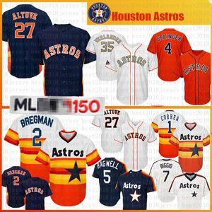 27 José Altuve 2 Alex Bregman 35 Justin Verlander jersey de béisbol de 34 Nolan Ryan 4 hombres George Springer 1 Carlos Correa 7 Craig Biggio Jerseys