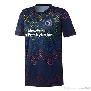 2019 New York City FC MLS New Fierté Pré-match Thaïlande Top soccer jersey 19 20 York Navy Fierté maillot de football Courir Jersey