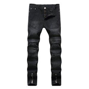 2018 Frühlings-heiße Verkaufs-Schwarz-Denim Jeans für Männer Plissee Zipper Gerade Designer dünne Hosen Biker Jeans Homme