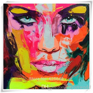 x1Framed Palette knife portrait Face by Francoise Nielly, Hand Painted Modern Wall Decor Abstract Art Oil Painting On Canvas.Multi sizes alE