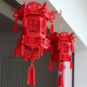 1 pcs set Beautiful Lucky Auspicious Red Double Happiness Chinese Knot Tassel Hanging Lantern Rooftop Wedding Room Decoration