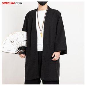 Sincism Shop Chinese Style feste lange Kimono Herren Jacken 2020 im chinesischen Stil Mann lässig Offene Stich Jacken Übergröße Kleidung