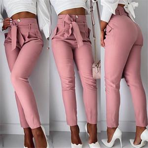 Yüksek Bel Tasarımcı Kadınlar Pantolon Katı Renk OL Bow Sashes Gevşek Casual Kalem Pantolon İlkbahar Yaz Moda Kadınlar Pantolon