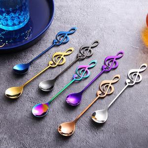 Note musicale Tea Spoons Note de musique en acier inoxydable Cuiller Creative crème glacée Dessert Café Thé Arts de la table cuillère