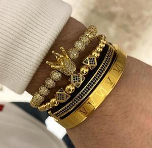 4pcs / set de la venta caliente clásica hecha a mano Hip Hop del trenzado pulsera de oro pulsera Corona número romano hombres Pave CZ Zircon