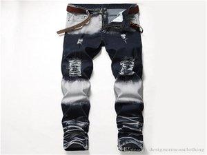 Fori Distrressed Blu Bianco Stretch Mens jeans lunghi della metà di vita regolare Etero Pantaloni Uomo Moda Uomo Abbigliamento