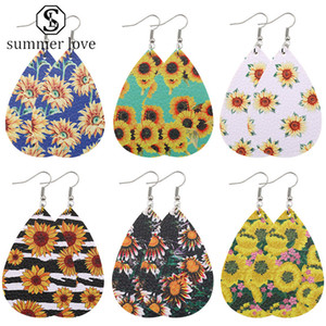 Design Sonnenblume druckte PU-Leder-Ohrring böhmische baumeln Ohrringe Bunte Wassertropfen Ohr glücklichen Schmucksachen Weihnachten Großhandel -Y