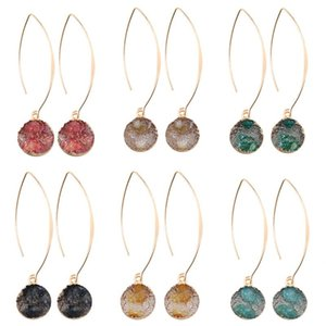 Fashion Handmade Resin Druzy Drusy Earrings For Women Gold Plating Round Ball Shape Pendant Hook Dangle Earring Wedding Jewelry Gifts