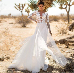 2020 летний пляж свадебные платья с иллюзией длинные рукава глубокий V образным вырезом кружева аппликация линия тюль спинки страна стиль свадебные платья