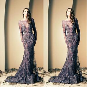 Koyu Lacivert Abiye Zarif Arapça Mermaid Uzun Kollu Örgün Özel Durum Elbise Balo Parti Kıyafeti Artı Boyutu vestidos de dresses