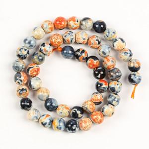 Naturales de piedra redonda de los granos flojos de la ágata, flojo semi precioso de la piedra Accesorios para la joyería que hace DIY collar de la pulsera 4/6/8 / 10mm Strand 15 ''