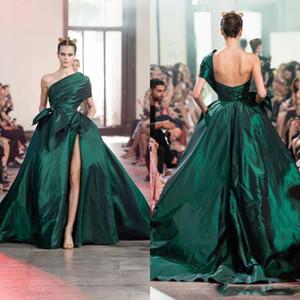 Elie Saab 2020 Koyu Yeşil Abiye Bir Omuz Arapça Kaftan Yüksek Bölünmüş Örgün Kadınlar Balo Abiye vestidos de Novia