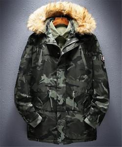 Camouflage Print Mens Designer Baumwolle gefütterte Jacken Mode Mulit Taschen Zipper Panelled Mens Cotton Jacken Männer Kleidung
