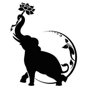 14.9 * 18.8CM India Elephant Lotus Flower Moon Fashion Car Sicker Negro / plateado CA-1023