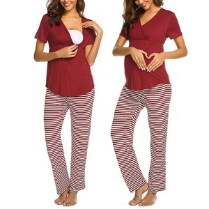 Hot 2019 Fashion Women Maternity V-neck Nursing Baby T-shirt Tops+Stripe Pants Pajamas Set Kids & Mother Drop Shipping