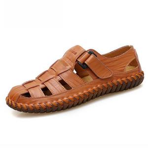 Sıcak Satış-Marka İnek Deri Sandalet Erkek Ayakkabı 2019 Yaz Ayakkabı El yapımı Yürüyüş Erkekler Sandalet Nefes Casual Plaj