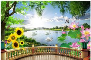 Красивые природные пейзажи обои Лебединое озеро обои современный 3D стерео балкон фон стены