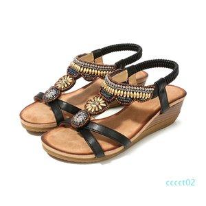 Comfort Shoes For Women Beige Heeled Sandals 2020 Women Med Large Size Summer Heels Wedge Open Toe Comfort Block Black ct2