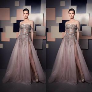 2021 Sexy Ziad Nakad Vestidos de noche Off Hombro Beads de lujo lentejuelas Lado de ilusión Split Split Dress Dress Fiesta Vestidos especiales
