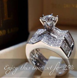 2019 Nouvelle Arrivée De Luxe Bijoux En Argent Sterling 925 Couple Anneaux Pave Blanc Saphire CZ Diamant Femmes De Mariage Anneau De Mariée Ensemble Pour Les Amoureux Cadeau