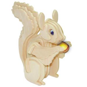 Kinder Blöcke Spielzeug neues Produkt der Eichhörnchen 3D-Holz-Stereo-DIY Montage Modell pädagogische Animal Spielzeug Geschenke
