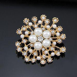 venda quente neve Flor Pérola cristal broche lindo broche de flor novos acessórios de moda feminina
