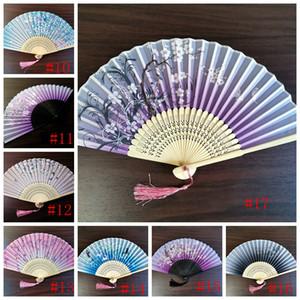 Abanico japonés Seda Fans femeninas Peonía Pintura china Imagen Retro Fans Seda Plegable Sostener Ventilador 17 colores Favor de fiesta GGA2582