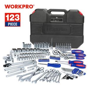 WorkPro 123PC New Mechaniker-Werkzeug-Set für Auto-Haus Toolkits Schnellspanner Ratschengriff Wrench Socket Set T200322