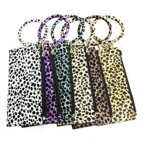 Leopard Clutch Bag Keyrings Keychains Charm Holder Wristlet Bracelet Bangle Car Key Chain Rings for Women Girls Lady Fashion Wrist Phone Bag