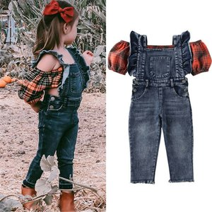 Yeni Bebek Kız Kapalı Omuz Elbise Kıyafetler Çocuk Plaid Balon Kollu T-shirt Mahsul Denim Suspender Pantolon Kıyafetler Tops