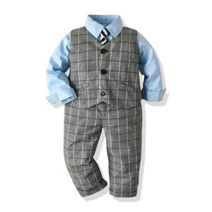 Autumn and winter children's suit European and American boys gentleman tie shirt with plaid vest plaid pants out dress Three sets