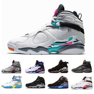 2019 Raid Bugs Reflective Bunny 8 8s Chaussures de Basketball Hommes Saint Valentin Aqua Blanc Noir Chrome PLAYOFF Hommes Entraîneur Baskets de Sport 7-13