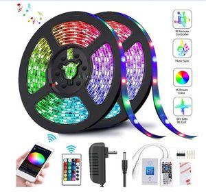 La bande LED Light bandes dimmable 2835 SMD RGB bande 5M 10M 15M 20M DC12V 3528 LED RVB flexible Stripe Ruban 24Key contrôleur WIF Adaptateur