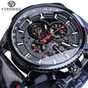 Forsining 블랙 레이싱 속도 자동 남성 시계자가 바람 3 다이얼 날짜 표시 광택 가죽 스포츠 기계 시계 수송선