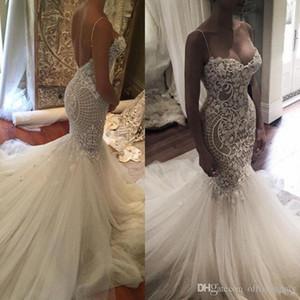 2019 nova linda sereia vestidos de noiva saudita árabe querida Lace Spaghetti Backless vestidos de noiva Vestios De Novia com trem da varredura