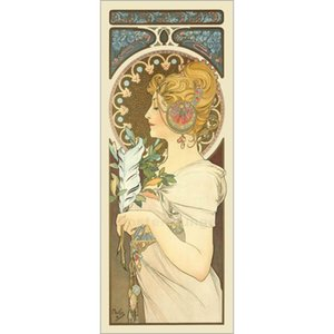 Decorative Art Die Feder by Alphonse Mucha oil painting Hand painted office room decor Large