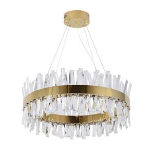 Moderner Kristallleuchter für Wohnzimmer Gold / Chrom LED Leuchter, die ringsum Hauptdekor Lustres De Cristal beleuchten