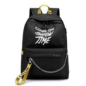 Hip Hop USB Ladies Backpack Off Moda Branca Mulheres sacos de alta qualidade Grande Capacidade Bag Estudante Casual Viagem Mochilas